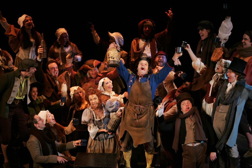 Master of the House from Les Miserables 3rd National Tour.  I'm the guy in the top hat all the way to the right with the wide open mouth.