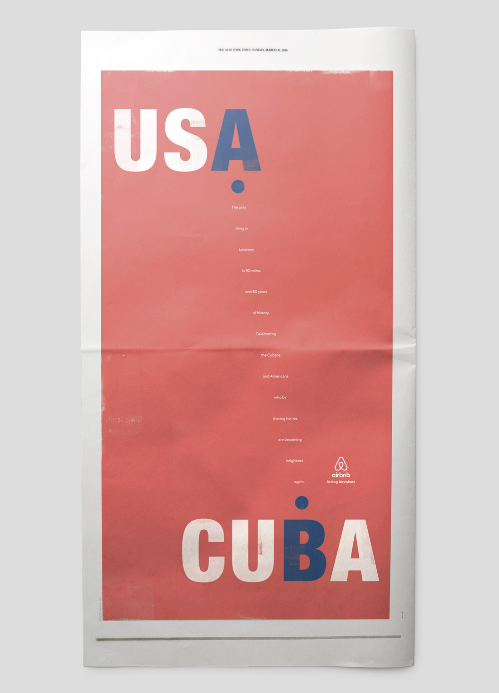 Airbnb: Cuba Newspaper Ad: Layout | Production