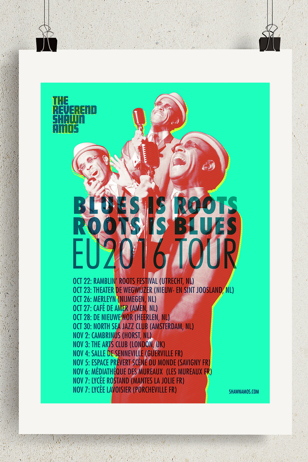 The Reverend Shawn Amos Blues Is Roots Roots Is Blues EU 2016 Tour Poster