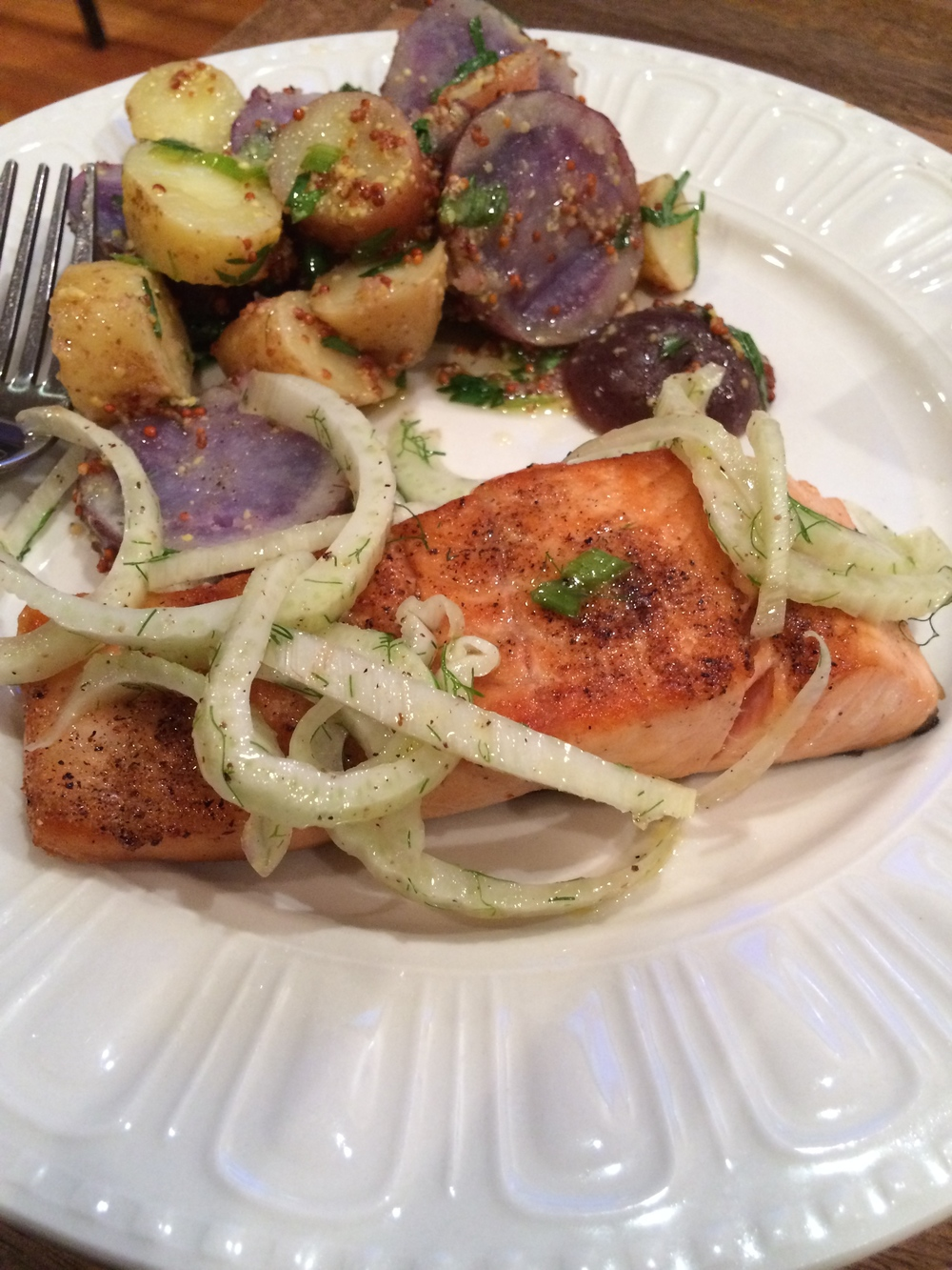 Salmon, Fennel, Potatoes. Thank you Blue Apron!