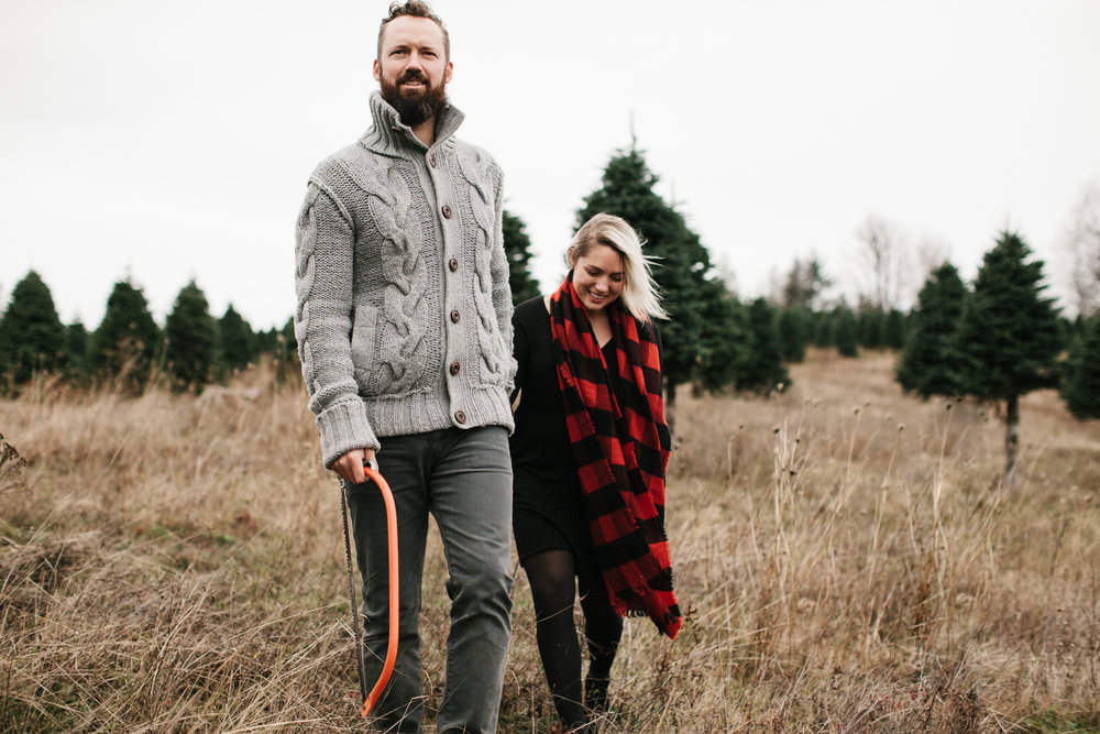 Couple walking to find christmas tree