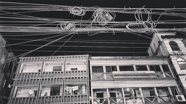 Power Lines at their best . . . #coxsbazar #banglagood #bangladesh #blackandwhite #powerlines #streetphotography #mobilephotography