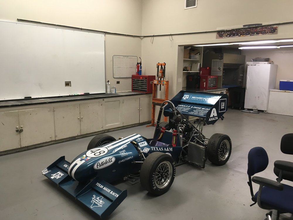 2016 competition car in a surprisingly clean build-room