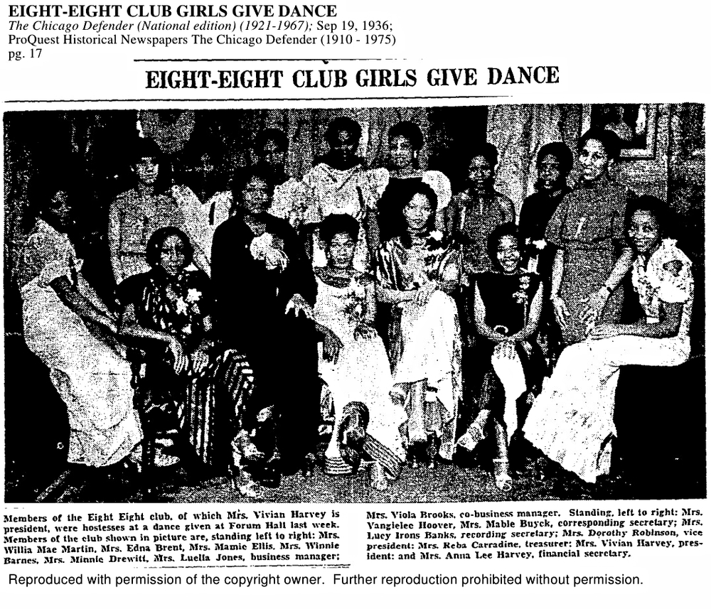 Title:Eight Eight Girls Give Dance Date: Sept. 19, 1936 Source: The Chicago Defender