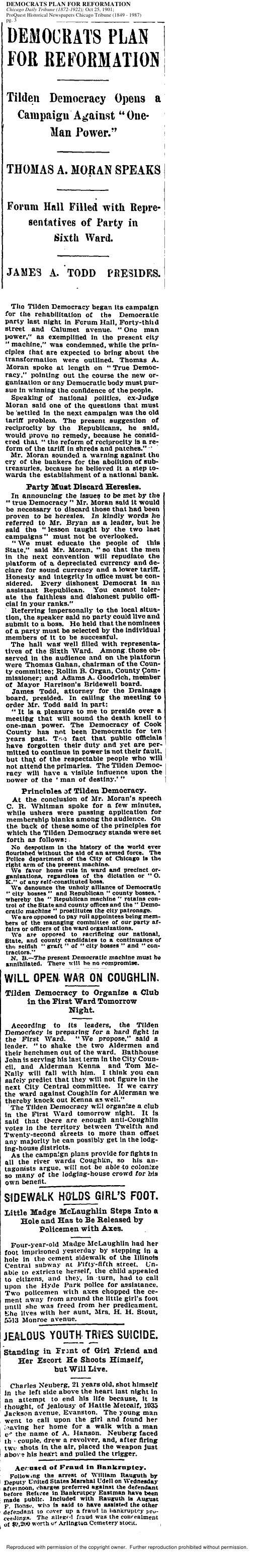Title: Democrats Plan for Reformation Date: October 25, 1901 Source: Chicago Daily Tribune