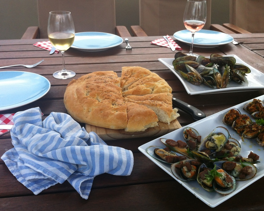 NZ Mussels three ways and delicious homemade focaccia