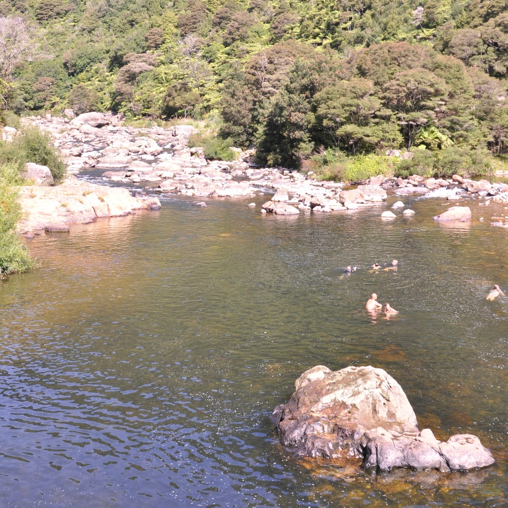 Swimming underneath bridge in Karangahake Gorge