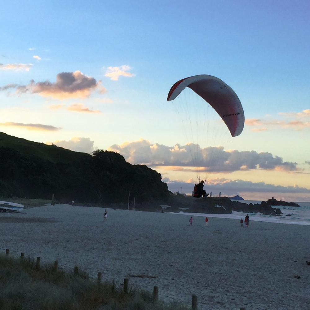 First of many paragliders landing on Mt Maunganui beach