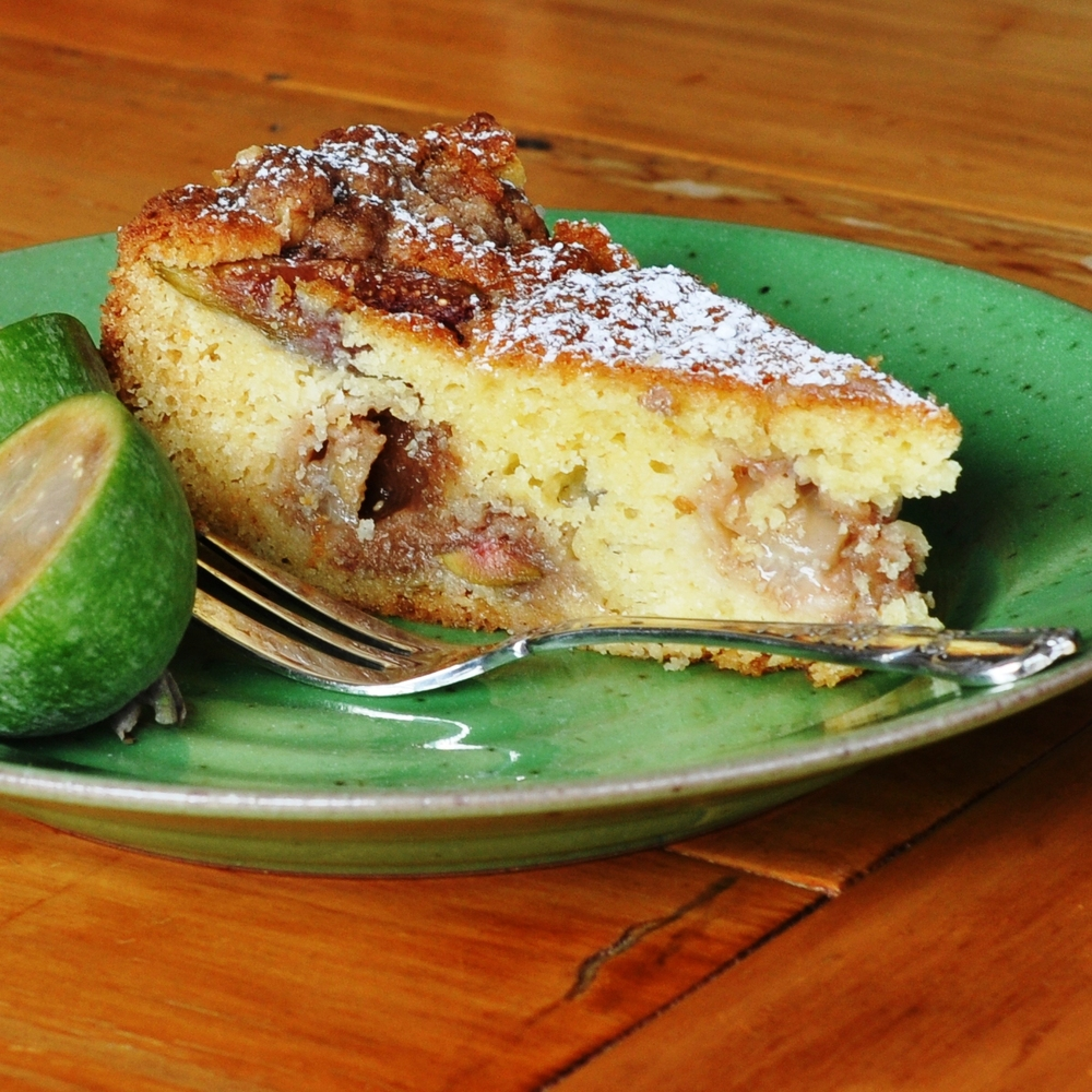 A slice of Fig & Feijoa Crumble cake