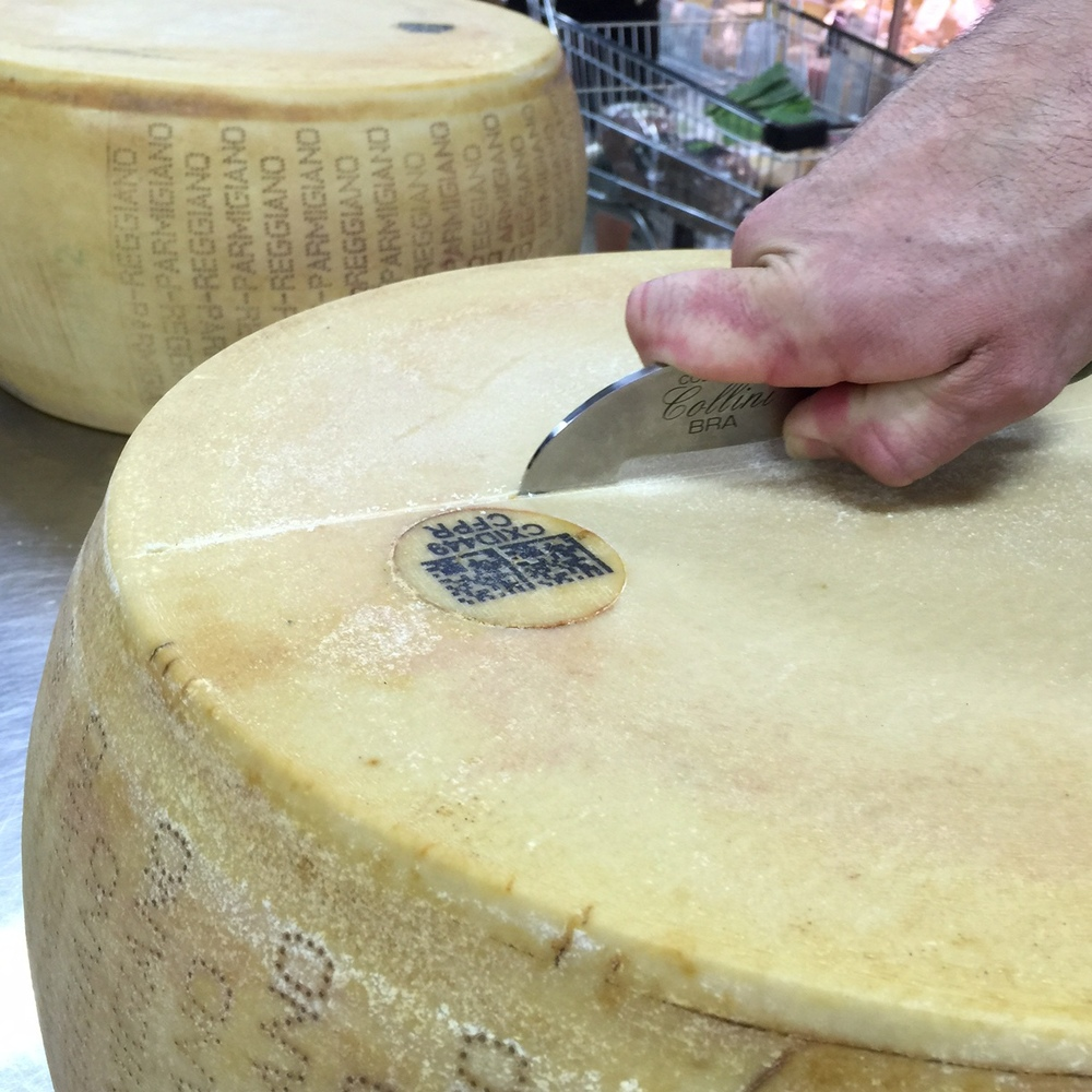 Scoring outer of Parmigiano Reggiano wheel