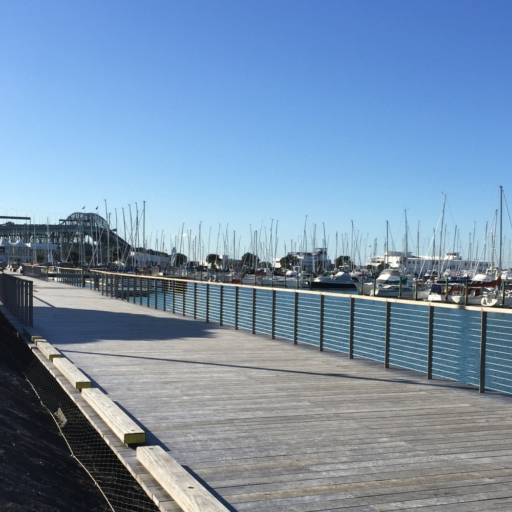 Westhaven Promenade back towards the yacht clubs