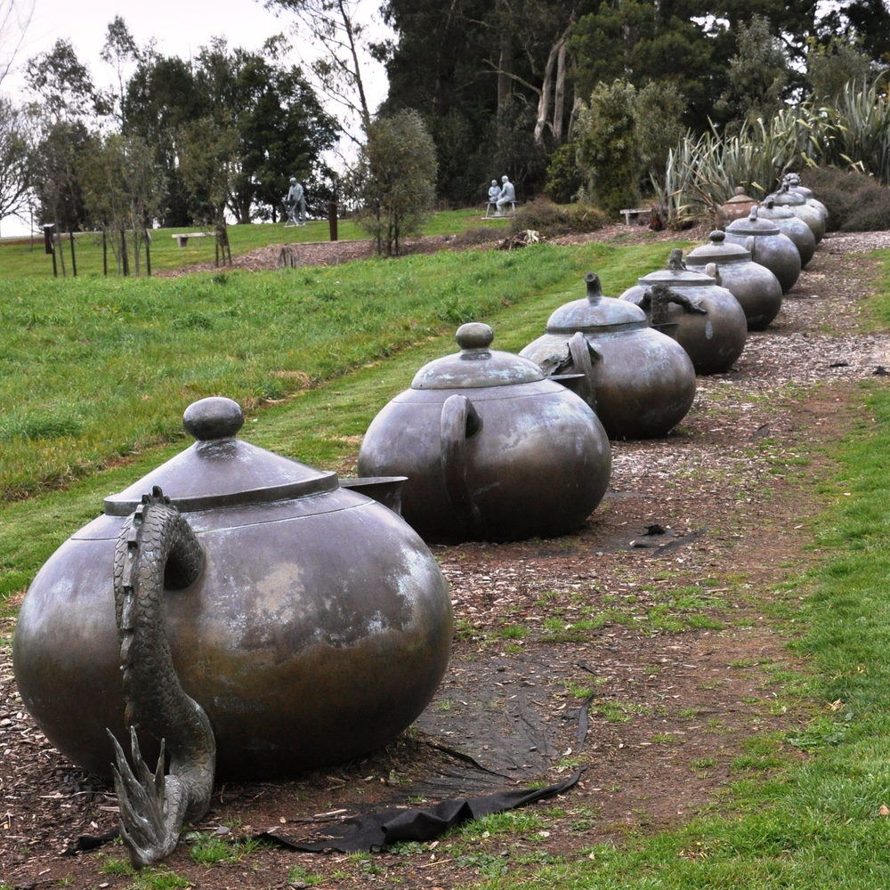 Zealong copper teapots in the gardens