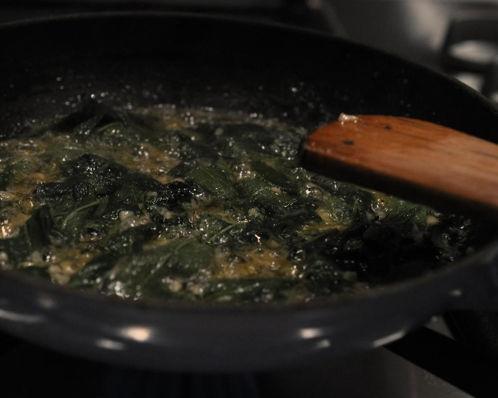 Simmering sage butter