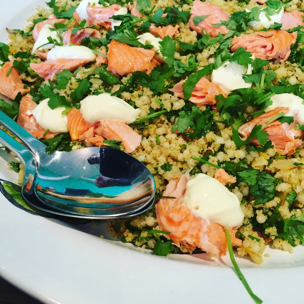 Roast salmon and herb couscous