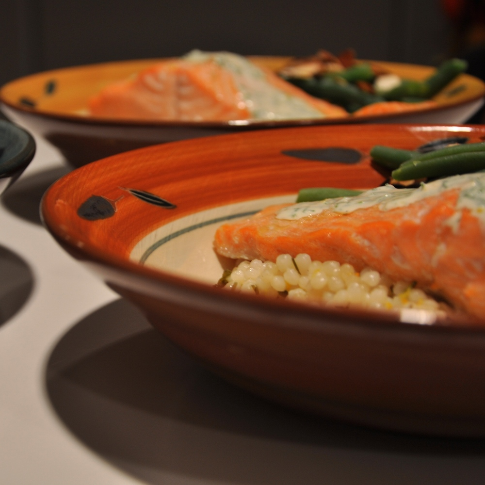Roast salmon with beans and couscous