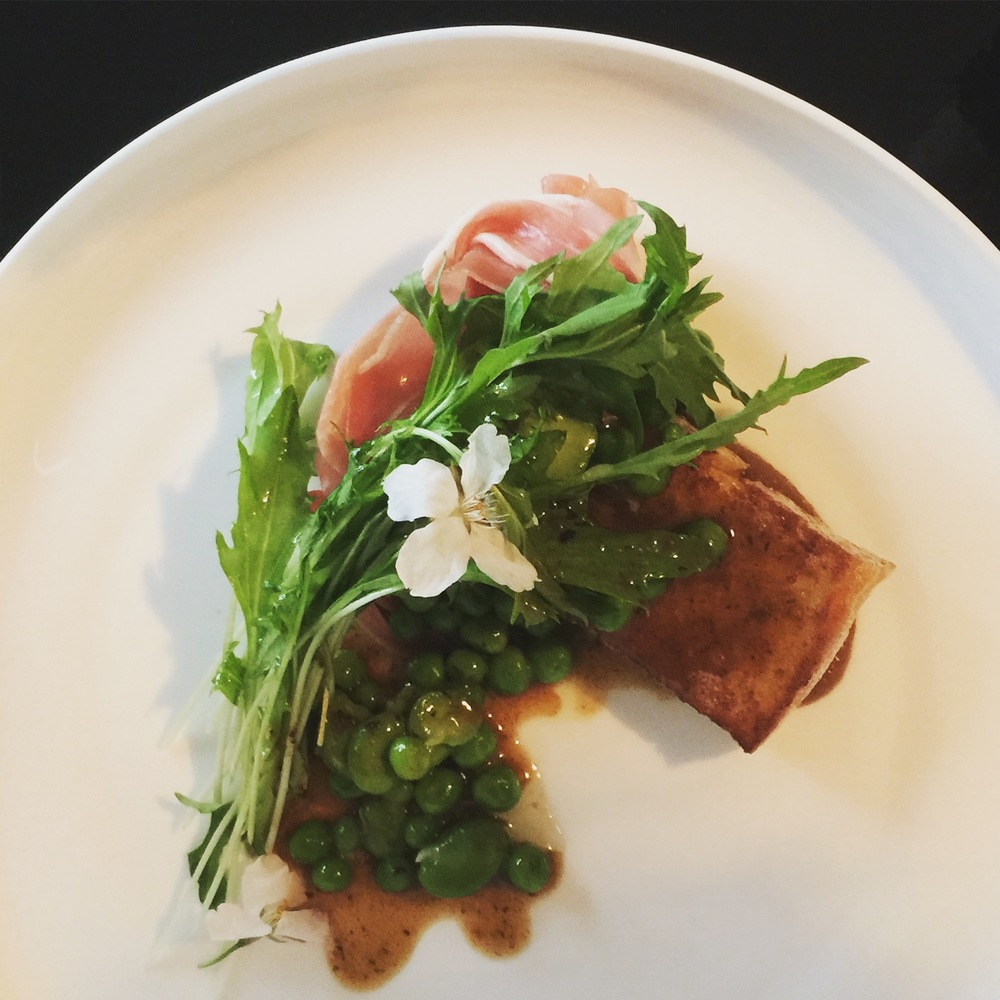 Savoury French toast, cured ham, spring peas, mizuna
