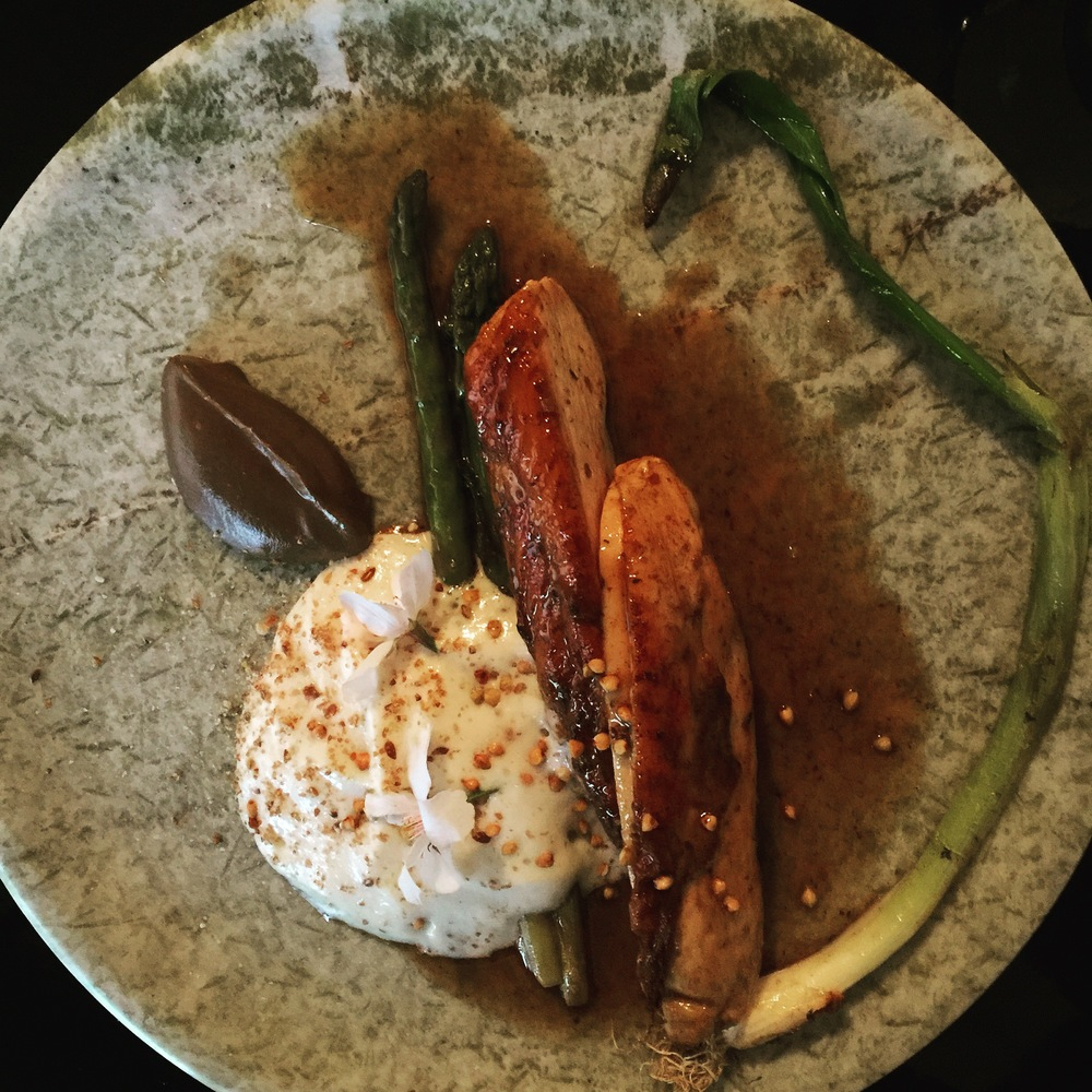 Roast chicken breast, spring asparagus, truffle jus with a little aubergine foam