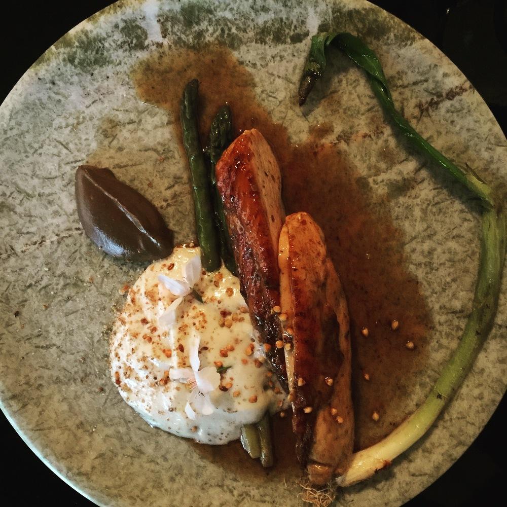 Roast chicken breast, spring asparagus, truffle jus with a little aubergine foam