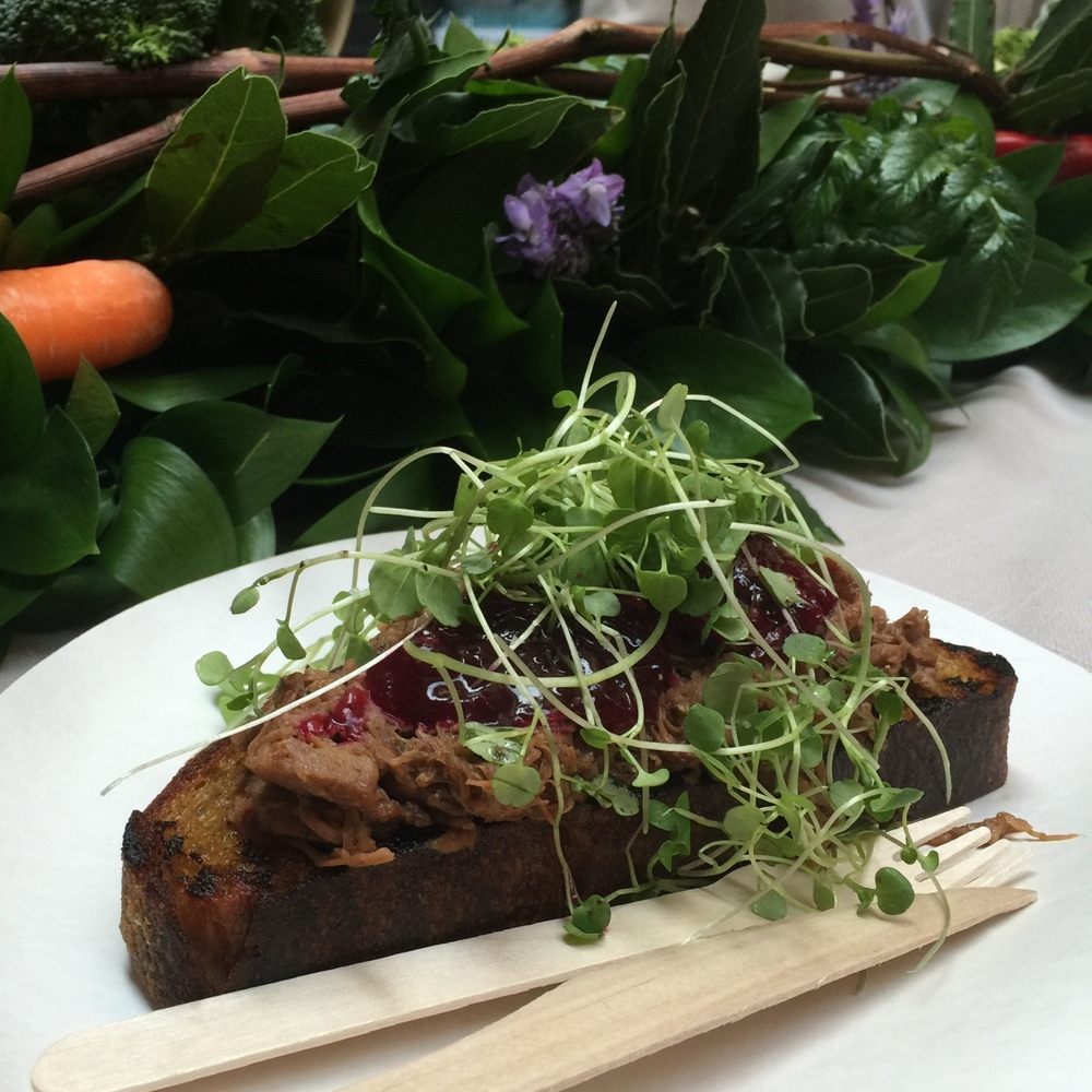 Slow roasted lamb, kumara sourdough, watercress and beetroot relish