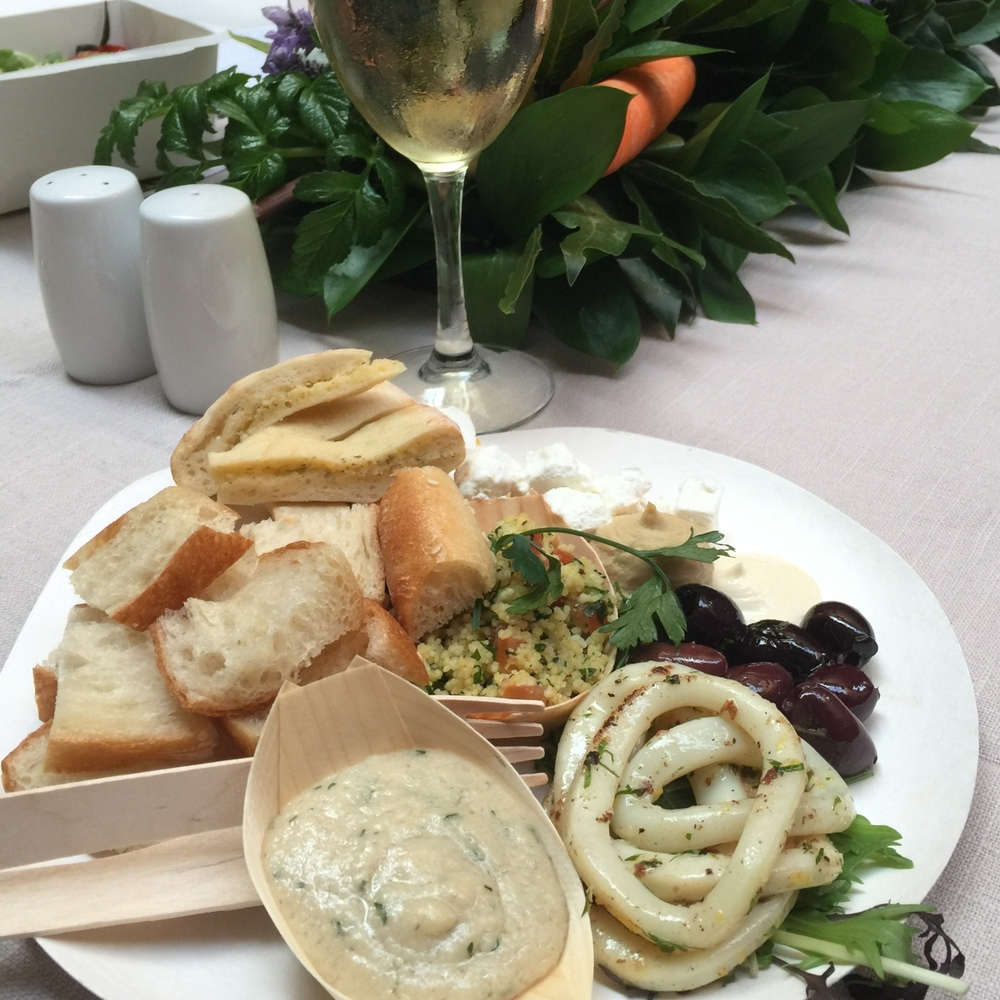 Calamari, taramasalata, hummus, tabbouleh, feta, olives and pide