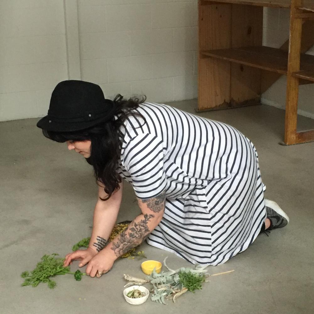 Demonstrating her technique