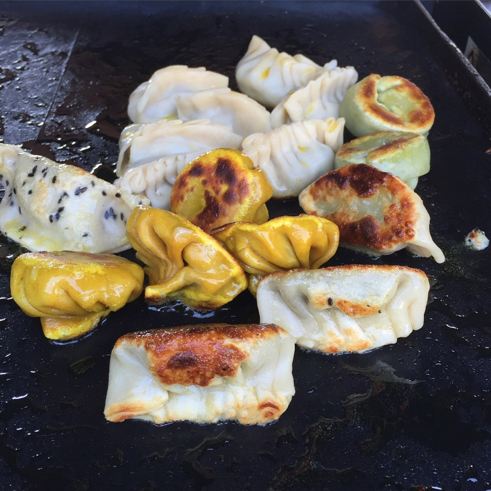 Dumplings hot off the grill
