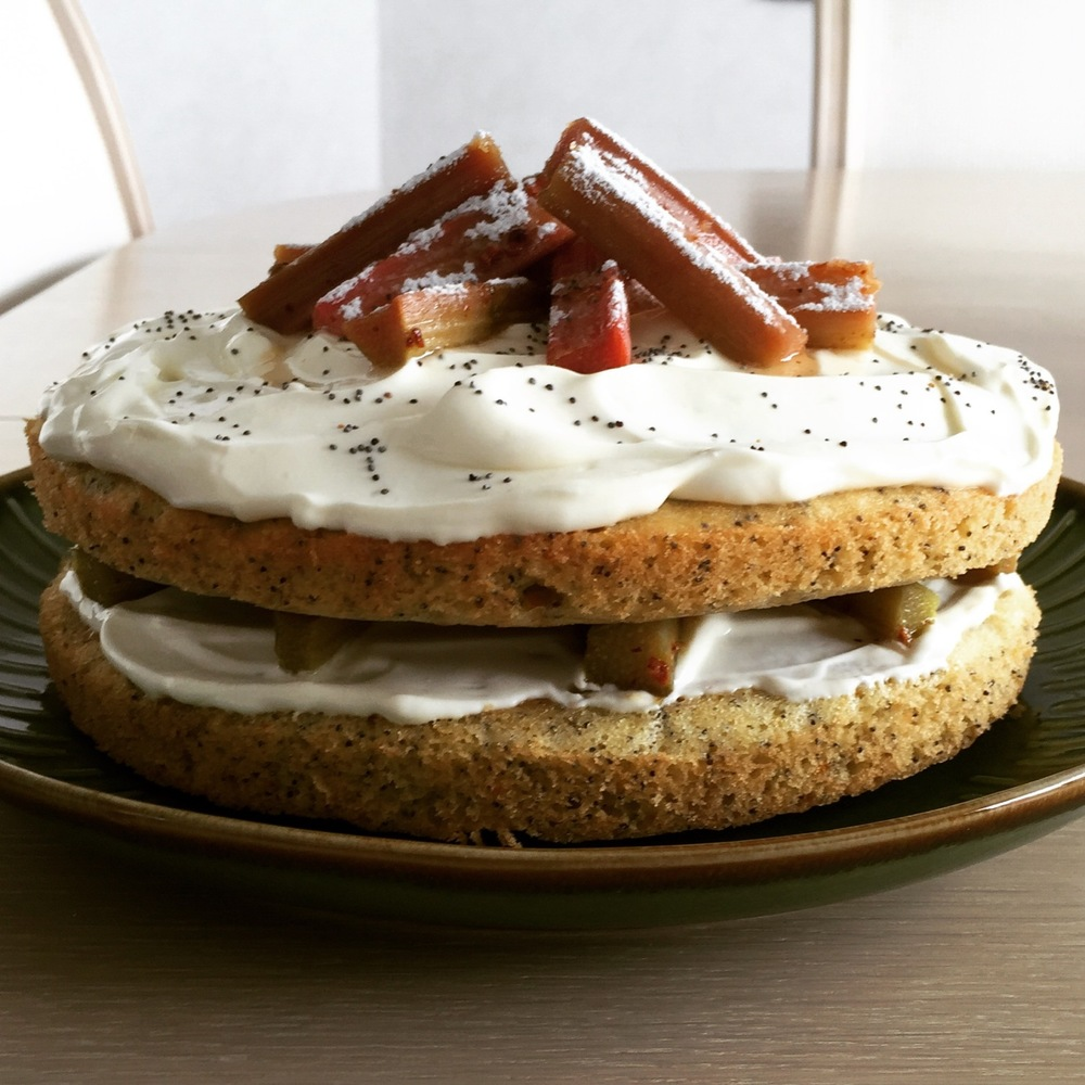Rhubarb Poppy Seed Cake with yoghurt and sour cream