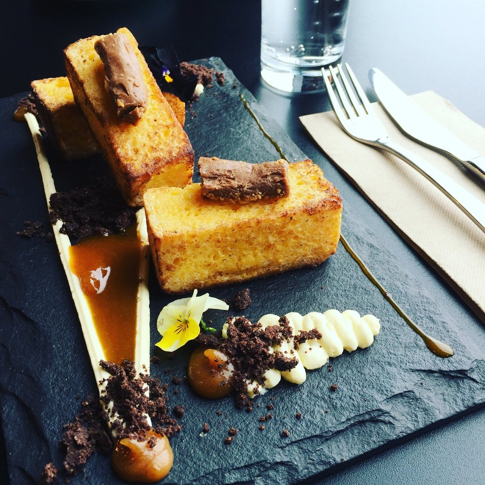 French toast, banana toffee, mandarin, grand marnier and salted cocoa crumble