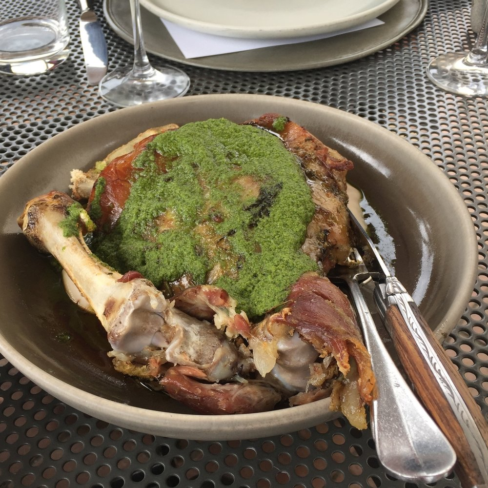Rauhine Ranges salt baked milk-fed lamb with herb pesto