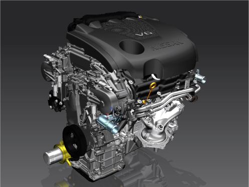 Nissan's VQ-Series V6 engine returns to Ward's top ten list. With the latest variant from the new Maxima, the venerable engine makes its 15th appearance on the list since 1995. With 61% of its parts redesigned, the VQ makes its first appearance since 2008. Editors were impressed with the Nissan's strong mid-range torque and lively yet refined power delivery.
