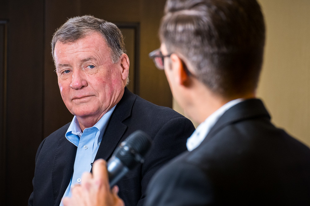 SBJ Editor Eric Olson interviews the CEO of SRC Holdings Corp.  SBJ photo by Wes Hamilton