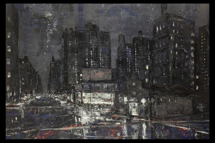 "New York Late Night, 48""x72"", oil on canvas"