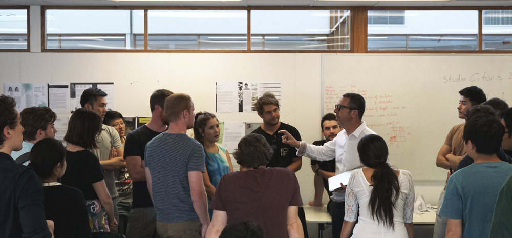 Francesco engages the students d uring an studio crit-session
