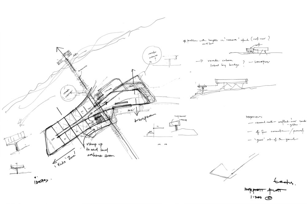 Initial Design sketches played to the possibilities of the view and the river