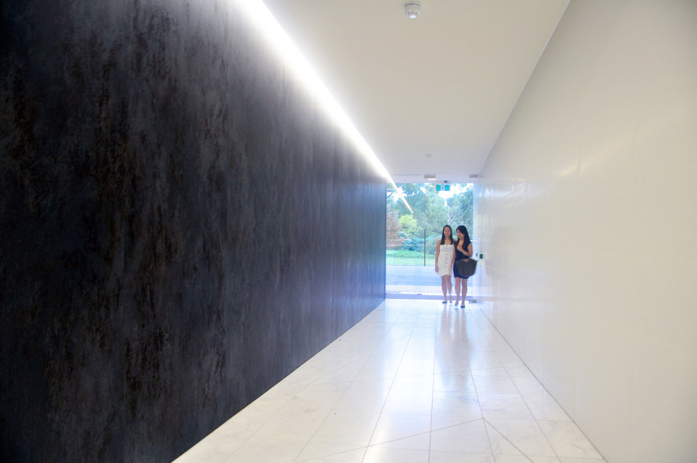 The ground level feature hallway welcomes visitors to a new standard of city living