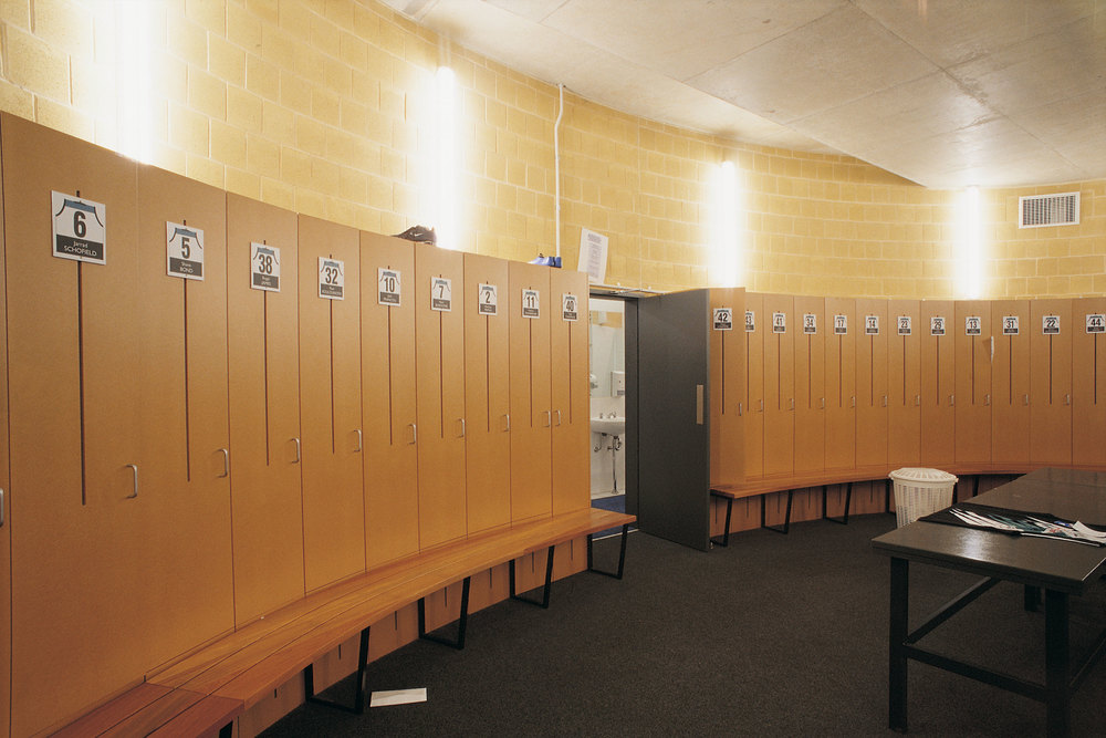 Locker rooms mimic the curved facade and promote team cohesion