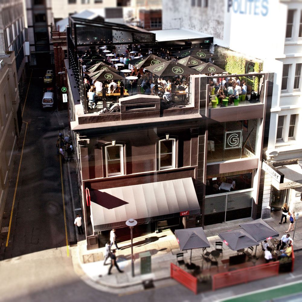 Street level, gallery level and roof level bring the city to life