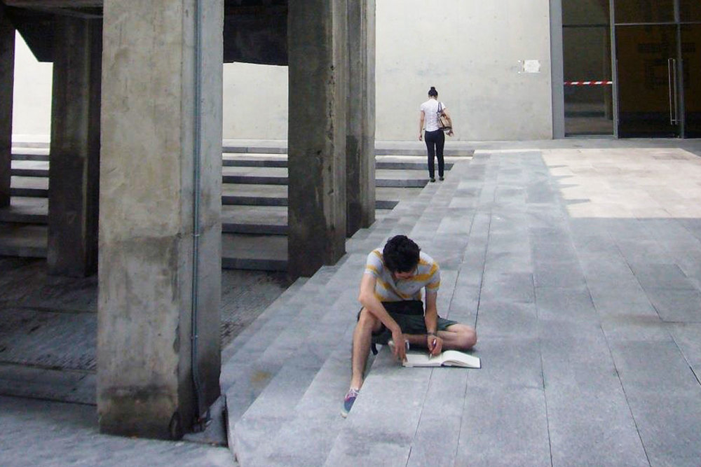 A student from the workshop sketches at the West Bund Museum from the Shanghai leg of the International Studio