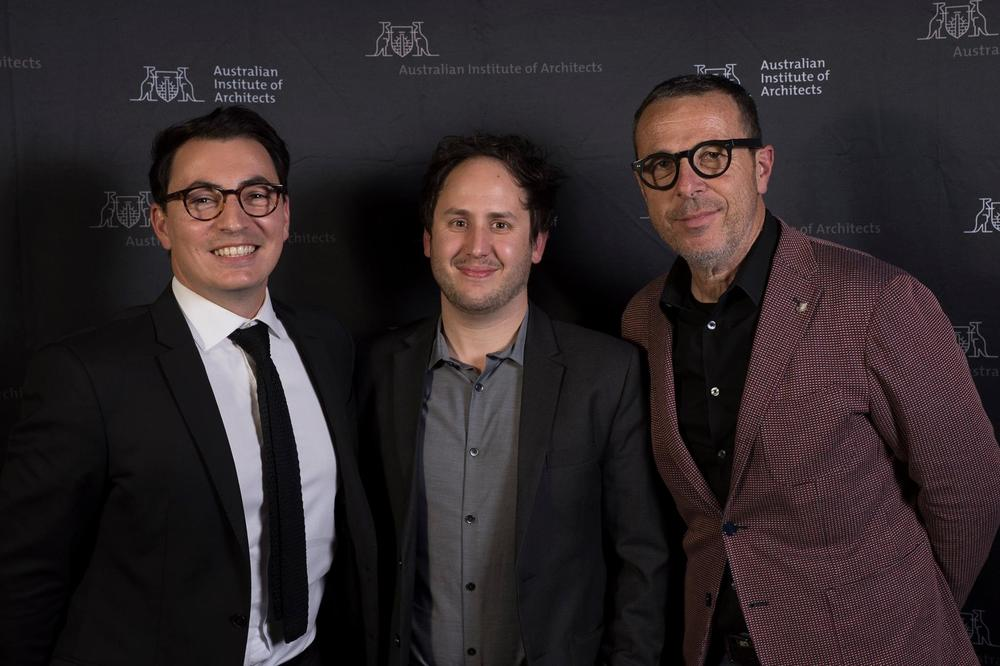 Fran Bonato (right) with Emerging Architect Award Winner Anthony Balsamo (middle) and Awards host Dino Vrynios (left).  Photo-credit: David Mariuz (on behalf of the South Australian Institute of Architects)