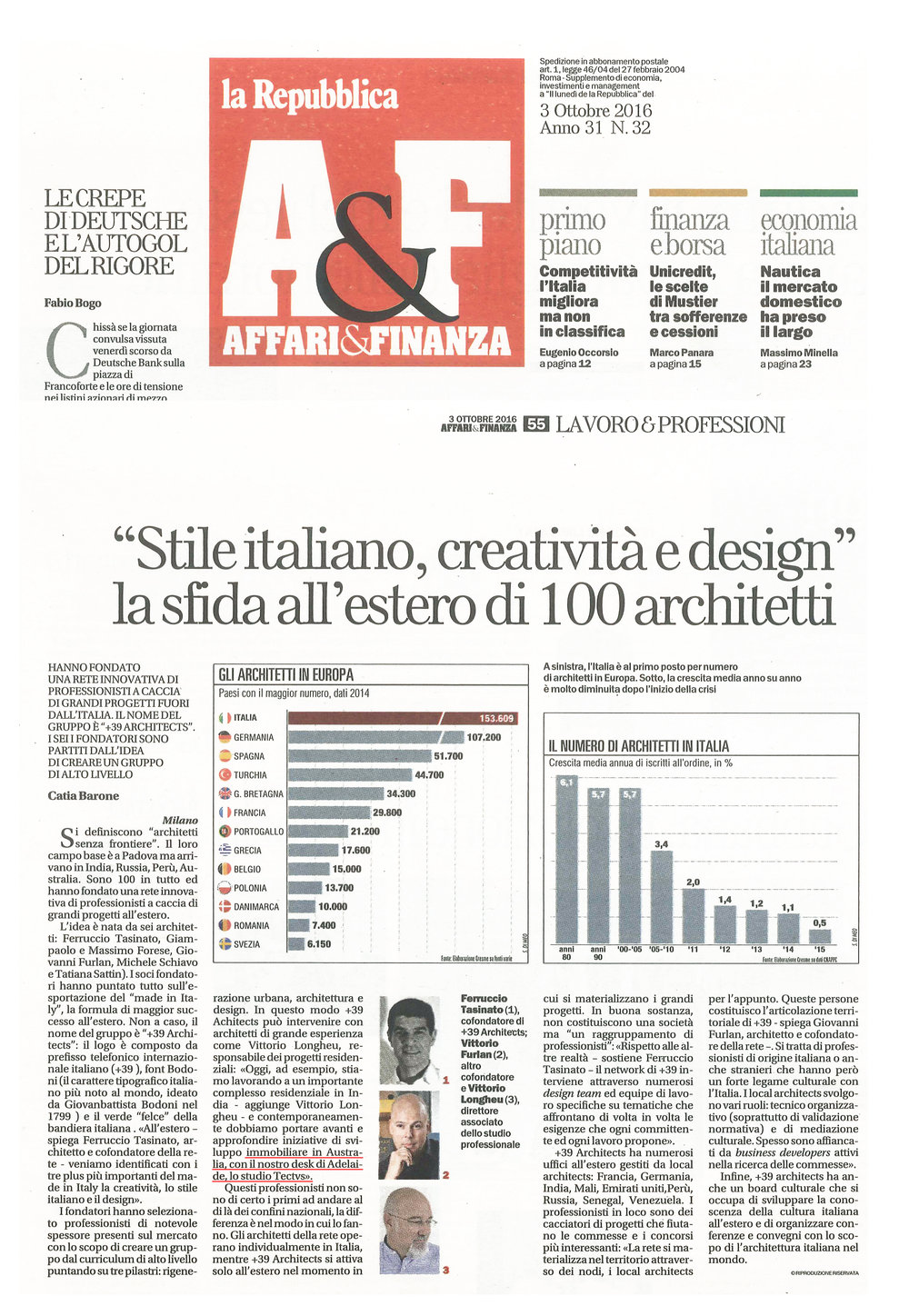 The announcement of Tectvs as the Australian desk of +39 was recently featured in la Repubblica