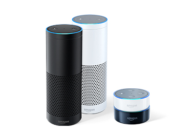 The Amazon Echo, and Echo Dot come in white and black, and are powered by Alexa. The larger Echo offers music quality sound.