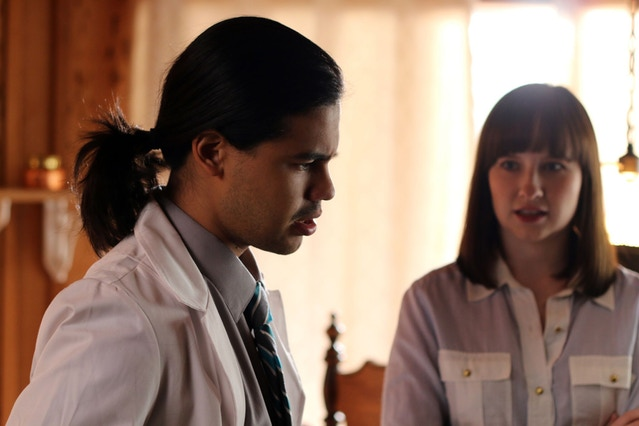 Carlos as Dr. Henry and Mary Kate as Artemis, VERY CONCERNED