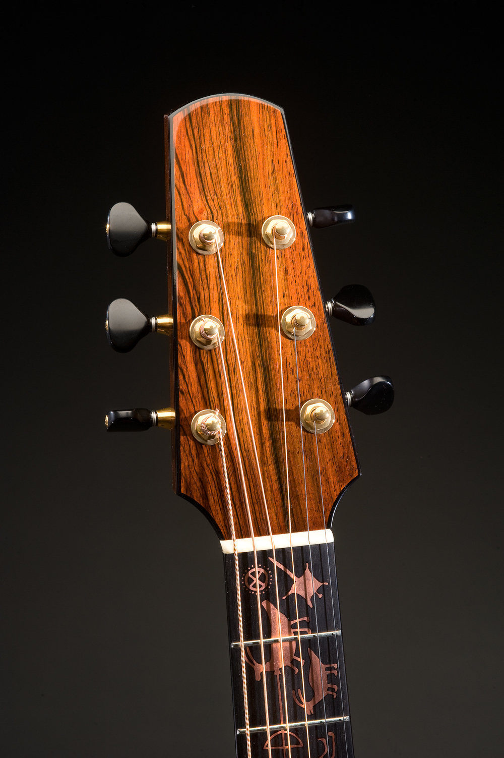 Traugott Model R Brazilian guitar copper inlay