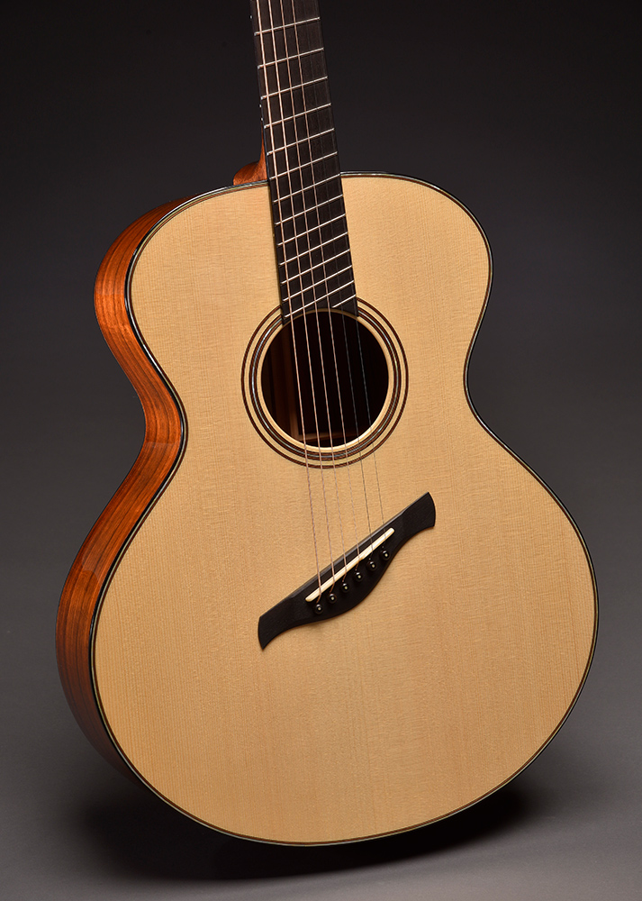 "Model BK Fan Fret: Scale length 27"" bass, 25.375"" treble with 5th fret perpendicular. German Spruce top"