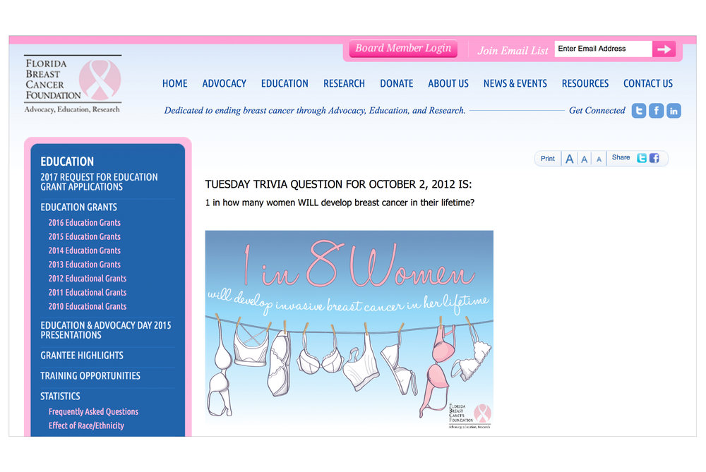 Used on the Florida Breast Cancer Foundation website, email and October 2012 event poster.