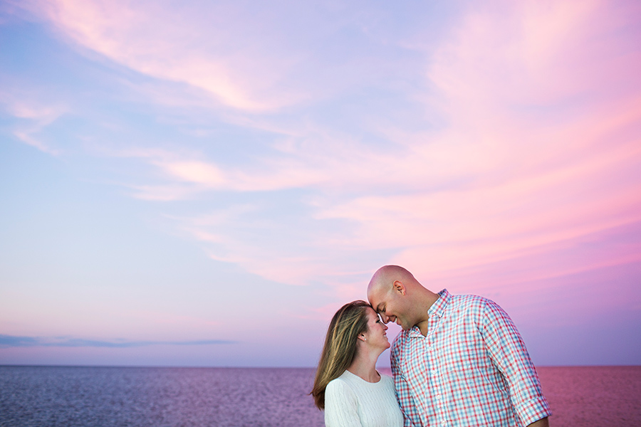 Courtney & Ben's Cape Cod Beach Engagement Session during Sunset - pink sky - Sandwich, MA