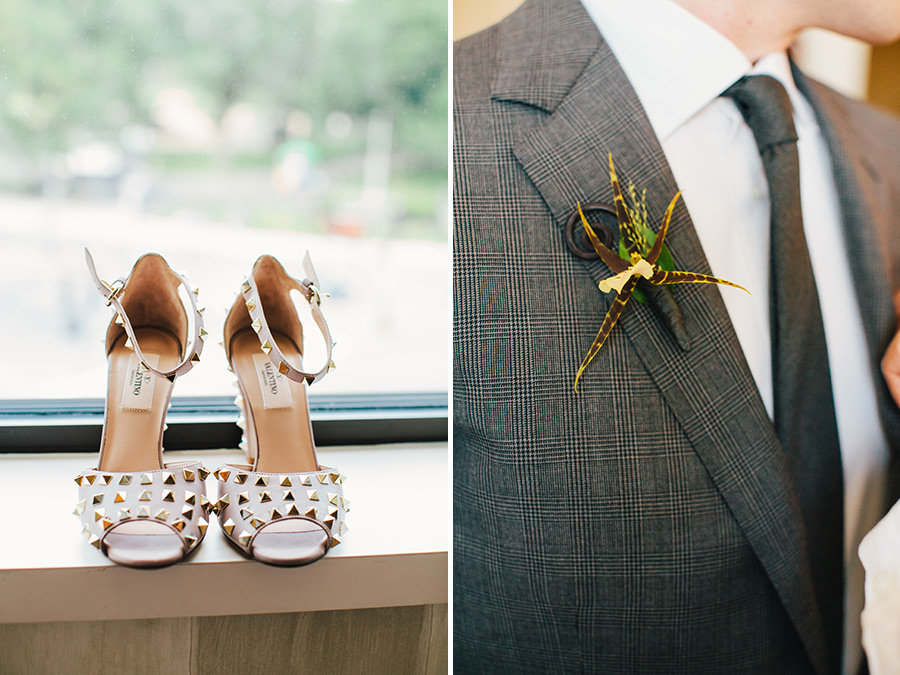Hannah & Tj Beautiful Wedding at the Four Seasons Boston bride wearing valentino shoes