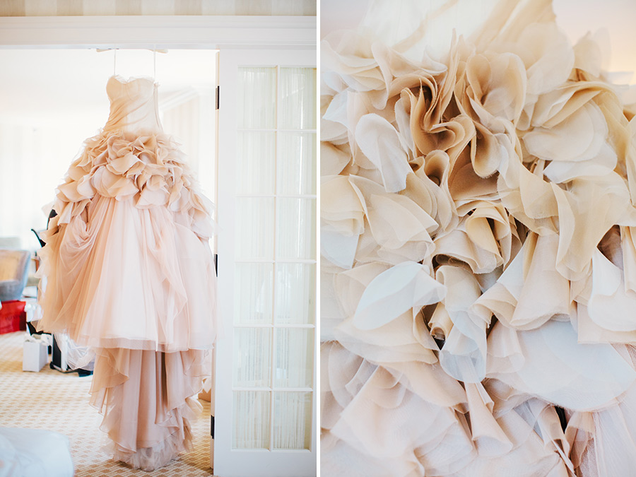 Hannah & Tj Beautiful Wedding at the Four Seasons Boston  gorgeous vera wang dress hanging