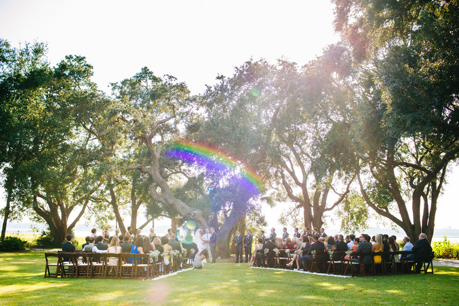 Beautiful outdoor ceremony in southern weddings lowndes grove plantation charleston, SC