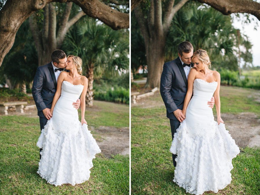 Charleston, SC Lowndes Grove Plantation beautiful bride and groom portraits